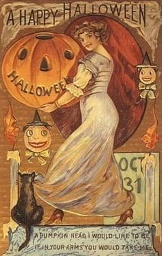 Each year I send my nieces and nephew a card and some candy for Halloween. I'm sure its the only card they get for Halloween and, of course, they love the candy!  Vintage cards reveal a side of Halloween that is lost in all of the commercialism of today. I always try to incorporate this aspect of the holiday into my autumn decor.