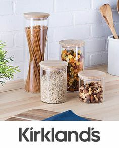 This fashionable set of Glass Canisters with Bamboo Lids will help you keep your ingredients fresh and organized! These durable pieces are built to last! Lid Storage, Storage Sets, Craft Storage, Storage Organization, Organizing, Kitchen Organization, Bamboo Containers, Food Storage Containers, Glass Canisters