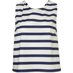 Stripe Bow Back Vest ($6) ❤ liked on Polyvore featuring tops, shirts, topshop, tanks, tank tops, multi, striped shirt, vest tank, striped cotton shirt and vest tank top