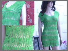 Crochet Summer Dress Tutorial Part 4 of 4 (Crochet the lower part / Pineapple Pattern) – Home Decorations, Closet Organization Knitting Videos, Crochet Videos, Crochet Summer Dresses, Pineapple Pattern, Dress Tutorials, Crochet Patterns For Beginners, Free Crochet, Crochet Tops, Crochet Fashion