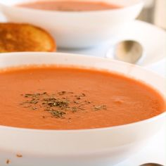 Nothing sounds better than a warm bowl of tomato soup on a chilly fall day. Not only is this tomato soup recipe easy to make but it also take less than 30 minutes to cook. www. Clean Eating Soup, Clean Eating Recipes, Clean Eating Snacks, Cooking Recipes, Easy Tomato Soup Recipe, Easy Soup Recipes, Healthy Recipes, Best Tomato Soup, Vegetarian