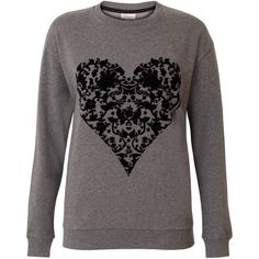 Poem Sweat Heart Flock (1,485 INR) ❤ liked on Polyvore featuring tops, hoodies, sweatshirts, sweaters, shirts, jackets, lightweight shirt, heart sweatshirt, flower print top and heart print top