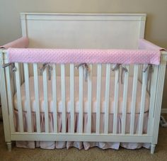 Custom Crib Rail Cover/ Crib Wrap Set. So much prettier than what they sell at the stores. This will save your furniture!
