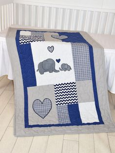 Elephant Baby Blanket, Navy Gray Crib Quilt, Chevron Kids Bedding, Toddler Patchwork Bespread from Custom Quilts by Eva. Saved to KIDS / BABY. #giftforbaby #babyblanket #nurseryroom #baby_quilt #elephant_bedding #baby_blanket.