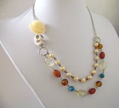 Day of the Dead Necklace Offset Ivory Rose by sweetie2sweetie