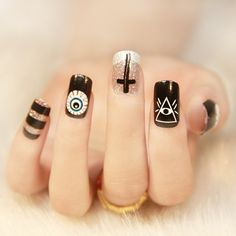 Image discovered by Find images and videos about black, nails and manicure on We Heart It - the app to get lost in what you love. Asian Nail Art, Asian Nails, Cute Nails, Pretty Nails, Hair And Nails, My Nails, Holloween Nails, Gothic Nails, Magic Nails