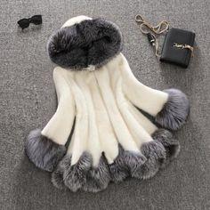 High Imitation Fur Coat Women Silver Fox Fur Collar Hooded Rabbit Fur Coat Medium-Long Overcoat Plus Size S-4XL Winter Coat