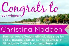Congrats to Christina Madden, the winner of a 3-night all-inclusive stay at El Dorado Seaside Suites!  Sounds like this will become a Honeymoon trip, so congrats to the happy couple!  Thank you to everyone that entered! If you didn't win, no worries, we will have another giveaway in a few months! Just make sure you keep up with us at Facebook.com/aioutlet and via email so you don't miss out!