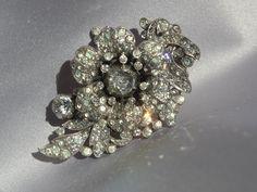 Vintage 1930 Bridal Crystal Rhinestone Haircomb/Fur Clip, Bridal Wedding, Designer Trifari, Wedding Jewelry. $75.00, via Etsy.