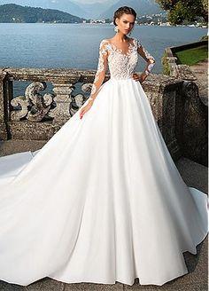 Attractive Tulle & Satin Bateau Neckline A-Line Wedding Dresses With Lace Appliques
