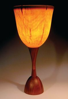 Wooden lamp and lampshade by Peter Bloch