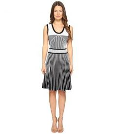 Prabal Gurung Sleeveless Knit Fit Flare (Black/White) Women's Dress