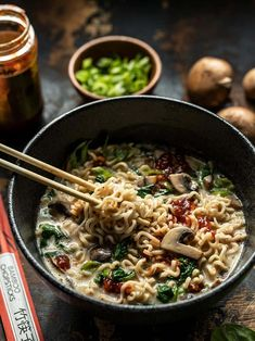 This incredibly simple Vegan Creamy Mushroom Ramen is a rich and flavorful 15 minute meal that only requires a handful of ingredients! BudgetBytes.com