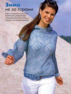 Ажурный пуловер с капюшоном из мохера (спицы). Обсуждение на LiveInternet - Российский Сервис Онлайн-Дневников