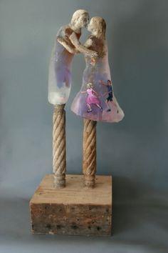 pink - couple - Carousel - cast glass, raku fired clay, oil paints, and wood - sculpture - Christina Bothwell Ooak Dolls, Art Dolls, Art Of Glass, Found Art, Glass Ceramic, Ceramic Artists, Figurative Art, Sculpture Art, Cast Glass