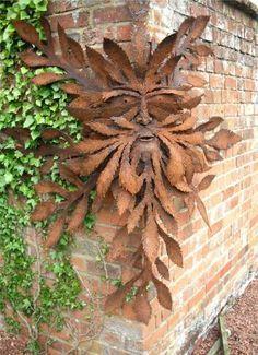 Green Man Metal Sculpture - Artist Gordon Dickenson - (from stitchingwithschnau. Green Man Metal S Metal Yard Art, Metal Tree Wall Art, Scrap Metal Art, Metal Artwork, Outdoor Metal Wall Art, Green Man, Garden Crafts, Garden Art, Metal Sculpture Artists