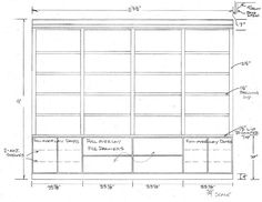 """First draft of home office built ins for Helen """"Hao"""" Long, Katy, TX.  (drawing by Jared Meadors)"""