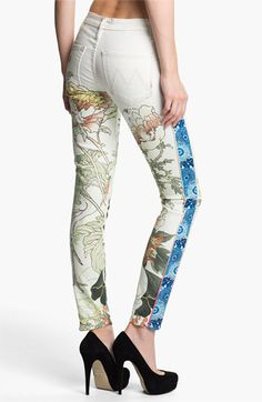 MOTHER 'The Looker' Mixed Print Skinny Jeans (The Scent of Sake) | Nordstrom