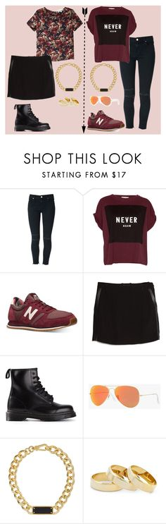 """""""Color guinda!"""" by fani-megan ❤ liked on Polyvore featuring J Brand, Pull&Bear, Olive + Oak, New Balance, MANGO, Dr. Martens, Ray-Ban, Marc by Marc Jacobs and Sole Society"""