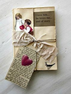 "Valentine Vintage ""Love Story"" Book, Romantic, Rustic, Altered Mixed Media,  #Romantic"