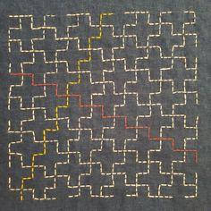 Jujitsunagi (Linked ten crosses) Myozashi sashiko on indigo dyed linen (from a drawn grid) Sashiko Embroidery, Japanese Embroidery, Hand Embroidery Designs, Embroidery Kits, Japanese Verbs, Chalk Pencil, Japanese Design, Japanese Art, Textiles