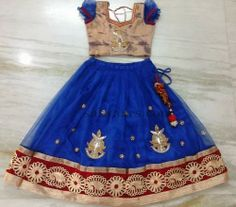Indian Dresses: Blue Parsi Work Kids Skirt