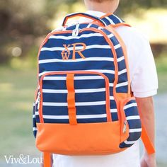 Line Up Backpack - Striped Backpack - Knapsack - Boy's Monogram Backpack - Back to School - Personalized Backpack - Navy Boy's Knapsack by SerenityoftheSouth on Etsy Preppy Backpack, Striped Backpack, Backpack For Teens, Teen Backpack, Monogram Backpack, Personalized Backpack, Back To School Backpacks, Boys Backpacks, Tote Bags For School
