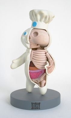 Slice and exposed, Jason Freeny's sculptures show the skeletons and internal organs you never knew the plastic characters possessed.