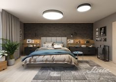 černý cihlový obklad na zed v ložnici, stěna za postelí nápady obklady tapety Black Brick Wall, Modern Bedroom, Studios, Furniture, Home Decor, Bedroom Modern, Decoration Home, Room Decor, Home Furnishings