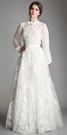 """""""Temperley corded French lace and silk chiffon blouse with a tiered tulle skirt."""" From """"The A List Wedding Runway Looks We Love"""" By InStyle"""