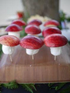 Marshmallow + apple slice toadstool