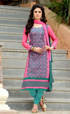 Buy Pink Chanderi Cotton Churidar Suit 63757 online at lowest price from huge collection of salwar kameez at Indianclothstore.com.
