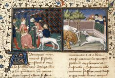 Detail of a miniature of Albanians presenting Alexander with a dog, and the dog fighting an elephant and a lion Library Catalog, Dog Fighting, British Library, Illuminated Manuscript, 15th Century, Elephant, Central, France, Medieval