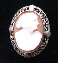 10k White Gold Vintage Cameo Brooch Carved Shell by izzyboo, $74.95