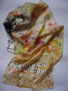 Sciarpa di seta dipinta a mano. L'attesa Klimt di AdeleDaniele