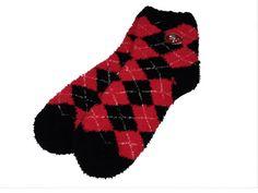 San Francisco 49ers Argyle Fuzzy Soft Socks - Sportsfan