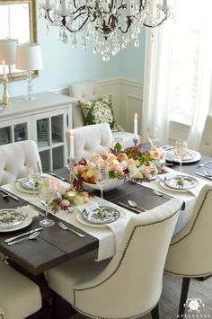 Restoration Hardware Trestle Table World Market Linen Lydia Chairs Blue Dining Room