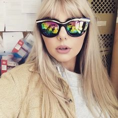Gorgeous Georgia wearing the MIX's Scarlett summer sunnies! Sunnies, Mirrored Sunglasses, Georgia, Fans, Photo And Video, Stylish, Model, Summer, How To Wear