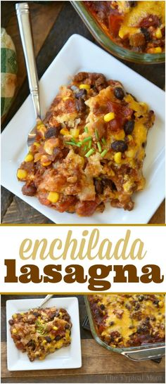 Seriously the best enchilada lasagna casserole dish that my kids just love! Cheesy casserole with lots of flavor and easy to throw together. via @thetypicalmom