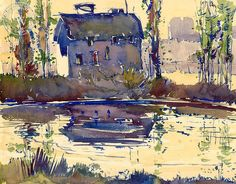 phil dike | Old Mill, Olive, 1928, a California watercolor by Phil Dike