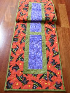 Quilted Table Runner Purple Green Orange Witches by HollysHutch, $42.00