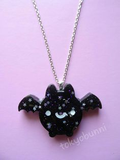 Kawaii Bat Necklace-Kawaii- Gothic- Pastel Goth- Gothic Lolita- Sweet Lolita-JFashion- Harajuku- Fairy Kei- Creepy Cute