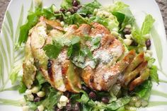 Barbecue Chicken Salad w/Cilantro-Honey-Lime Dressing by themotherhuddle #Salad #Chicken #Honey_Lime #themotherhuddle