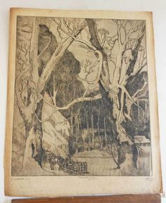 Marco ZIM Russia Russian Artist Etching 1930s Antique Snowed In Logging Sled