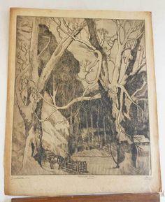 Marco ZIM Russia Russian Artist Etching 1930s WPA Era Snowed In Logging Sled in Art Deco | eBay