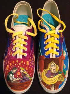 6fccb4add6 Custom Tangled Painted Shoes by BigBrownsCustomKicks on Etsy