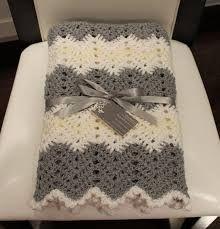 Image result for crochet chevron blanket in greys