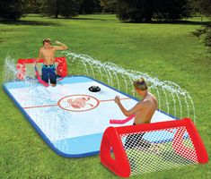 Backyard Sports: Water-Soaked Knee Hockey Rink...I may be an adult but I still totally want one!