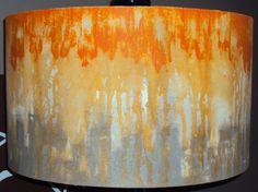 This beautiful lampshade is made of hand painted canvas. It was painted using a drip technique. This particular shade is painted with orange Decorate Lampshade, Lampshades, Paint Lampshade, Lampshade Ideas, Painting Lamp Shades, Painting Lamps, String Lanterns, Fabric Chandelier, Pleated Lamp Shades