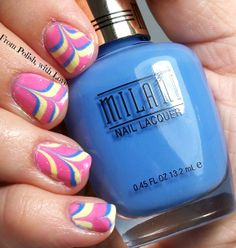 Tri Polish Tuesday- Pink, Yellow, and Blue water marble with Cult Nails and Milani!